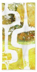 Gelli Plate Abstract Mid Century Modern Yellow Hand Towel