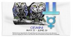 Gemini Sun Sign Bath Towel by Shelley Overton