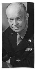 Bath Towel featuring the photograph General Dwight Eisenhower by War Is Hell Store