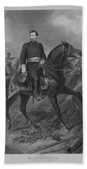 Hand Towel featuring the mixed media General George Mcclellan On Horseback by War Is Hell Store