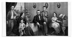 Hand Towel featuring the mixed media General Grant And His Family by War Is Hell Store