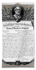 Hand Towel featuring the mixed media General Robert E. Lee's Farewell Address To Confederate Soldiers by Daniel Hagerman