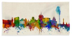 Geneva Switzerland Skyline Bath Towel
