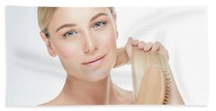 Gentle Female Combing Her Hair Hand Towel