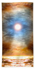 Gentle Mantra Om Light Glowing Into The Sea Bath Towel