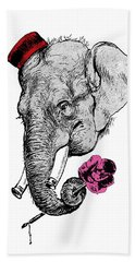 Gentleman Elephant With Pink Rose Bath Towel