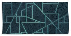 Geometric Abstraction In Blue Hand Towel