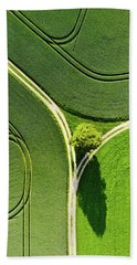 Geometric Landscape 05 Tree And Green Fields Aerial View Hand Towel
