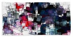 Geometric Skyline / Cityscape Abstract Art Bath Towel by Ayse Deniz