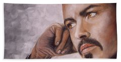 Hand Towel featuring the painting George Michael by Patrice Torrillo