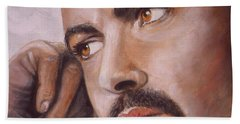 Hand Towel featuring the painting  Up Close George Michael  by Patrice Torrillo