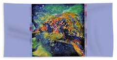 Hand Towel featuring the painting George The Turtle by Erika Swartzkopf