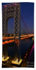George Washington Bridge At Night Hand Towel