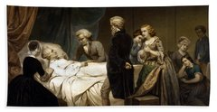 Bath Towel featuring the painting George Washington On His Deathbed by War Is Hell Store