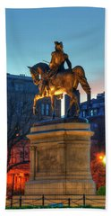 Hand Towel featuring the photograph George Washington Statue In Boston Public Garden by Joann Vitali