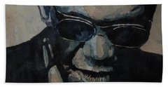 Bath Towel featuring the painting Georgia On My Mind - Ray Charles  by Paul Lovering