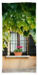 Bath Towel featuring the photograph Geraniums On Windowsill by Silvia Ganora