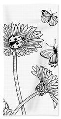 Gerbera Daisies Drawing Hand Towel