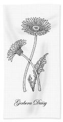 Gerbera Daisy Flower Botanical Drawing  Hand Towel