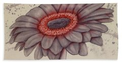 Gerbera Flower Gone Grey Bath Towel