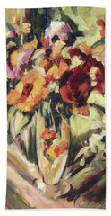 Gerberas In Glass Vase Hand Towel