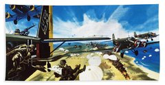 German Paratroopers Landing On Crete During World War Two Hand Towel by Wilf Hardy