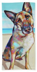 German Shepard On The Beach Hand Towel