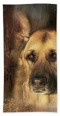German Shepherd Portrait Color Hand Towel