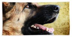 German Shepherd Portrait Bath Towel