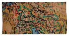 German Vintage Map Of Central Europe From Old Globe Hand Towel