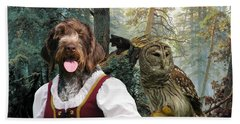 German Wirehaired Pointer Art Canvas Print - Lady Owl And Little Bears Hand Towel