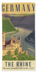 Germany Retro Poster Bath Towel