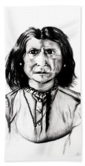 Hand Towel featuring the drawing Geronimo by Ayasha Loya