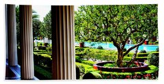 Bath Towel featuring the photograph Getty Villa Peristyle Garden by Joseph Hollingsworth