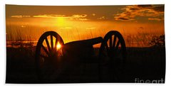 Gettysburg Cannon Sunset Bath Towel by Randy Steele
