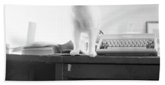 Ghost Cat, With Typewriter Hand Towel