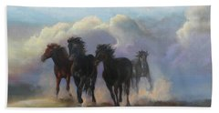 Bath Towel featuring the painting Ghost Horses by Karen Kennedy Chatham