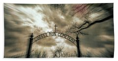 Ghostly Winter Cemetery Hand Towel