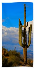 Giant Saguaro In The Southwest Desert  Hand Towel