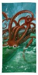 Giant Squid And Nautilus Bath Towel
