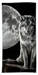 Gibbous Wolf Hand Towel