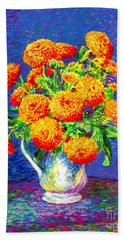 Hand Towel featuring the painting Gift Of Gold, Orange Flowers by Jane Small