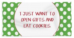 Gifts And Cookies- Art By Linda Woods Hand Towel