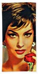 Gina Lollobrigida, Vintage Hollywood Actress. Digital Art By Mb Hand Towel