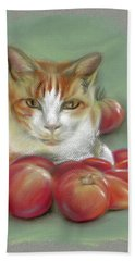 Ginger And White Cat Among The Tomatoes Bath Towel