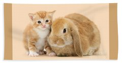 Ginger Kitten And Sandy Bunny Hand Towel