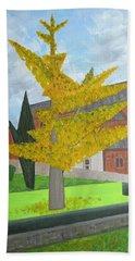 Gingko Tree At St. James Church Bath Towel by Tamara Savchenko