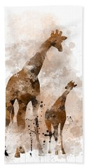 Giraffe And Baby Hand Towel