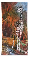 Bath Towel featuring the painting Giraffe Batik II by Ryan Fox
