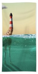 Giraffe Lighthouse Bath Towel by Keshava Shukla